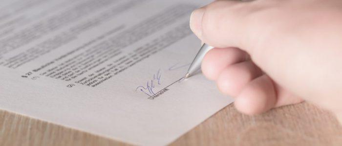 Vertrag Vertragsunterzeichnung Mietvertrag