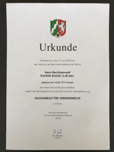 Urkunde, Fachanwalt für Verkehrsrecht